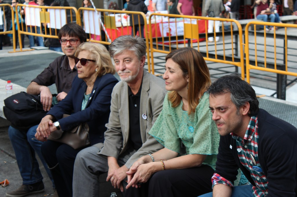 De izquierda a derecha: Xavi Matilla, Manuela Carmena, Pedro Santisteve, Ysabel Torralbo y Xulio Ferreiro