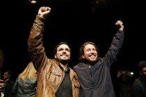 Alberto Garzón junto a Pablo Iglesias