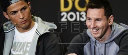 CR7 y Messi en la rueda de prensa de la gala del balón de oro 2013