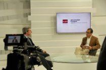 David Jiménez y Manuel López Linares durante la conferencia en la Univerisidad Europea de Madrid. / Fotografía: Marina Alcázar