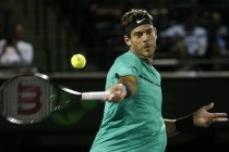 MIA16. Miami (United States), 26/03/2017.- Juan Martin Del Potro of Argentina in action against Robin Haase of the Netherlands during their second round match at the Miami Open tennis tournament on Key Biscayne, Miami, Florida, USA, 25 March 2017. (Abierto, Tenis, Países Bajos; Holanda, Estados Unidos) EFE/EPA/RHONA WISE