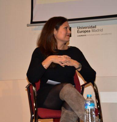 27/04/2017 Villaviciosa de Odón. Alana Moceri durante su ponencia en la Semana de la Comunicación. (Foto: Dmitry Psarev)
