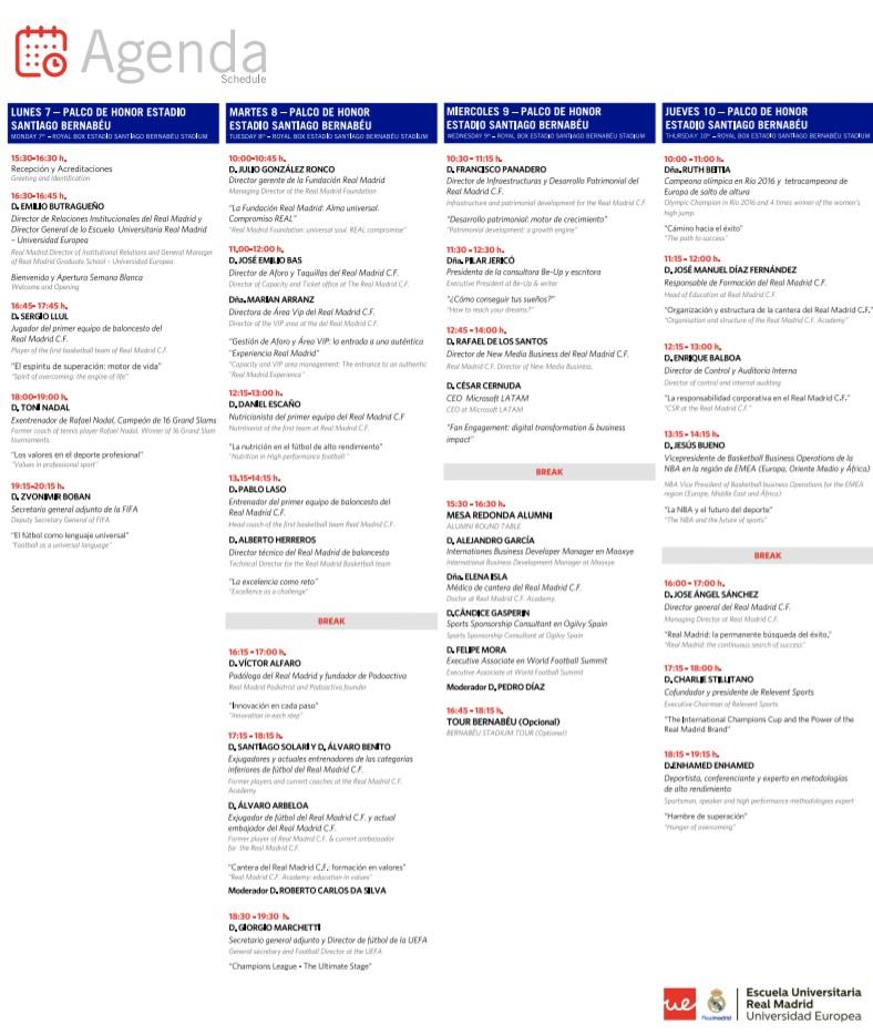 Agenda Semana Blanca