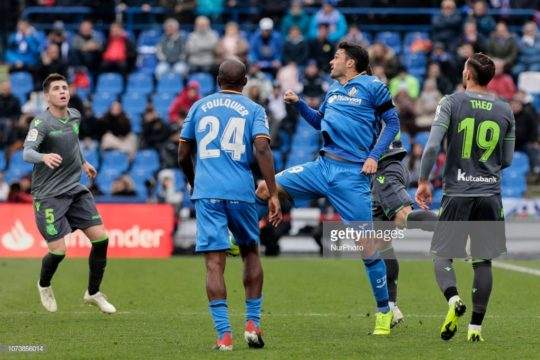 Getafe CF's Dimitri Foulquier (L) and Jorge Molina (R) and Real Sociedad's Theo Hernandez during La Liga match between Getafe CF and Real Sociedad at Coliseum Alfonso Perez in Getafe, Spain. December 15, 2018. (Photo by A. Ware/NurPhoto via Getty Images)