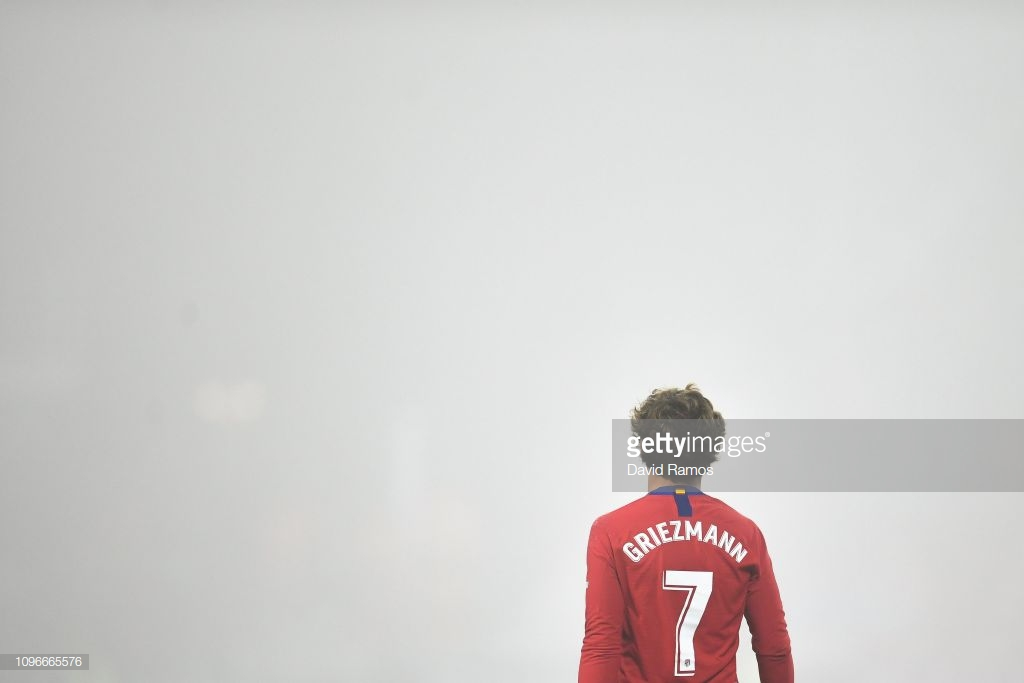 HUESCA, SPAIN - JANUARY 19: Antoine Griezmann of Atletico de Madrid looks on during the La Liga match between SD Huesca and Club Atletico de Madrid at Estadio El Alcoraz on January 19, 2019 in Huesca, Spain. (Photo by David Ramos/Getty Images)