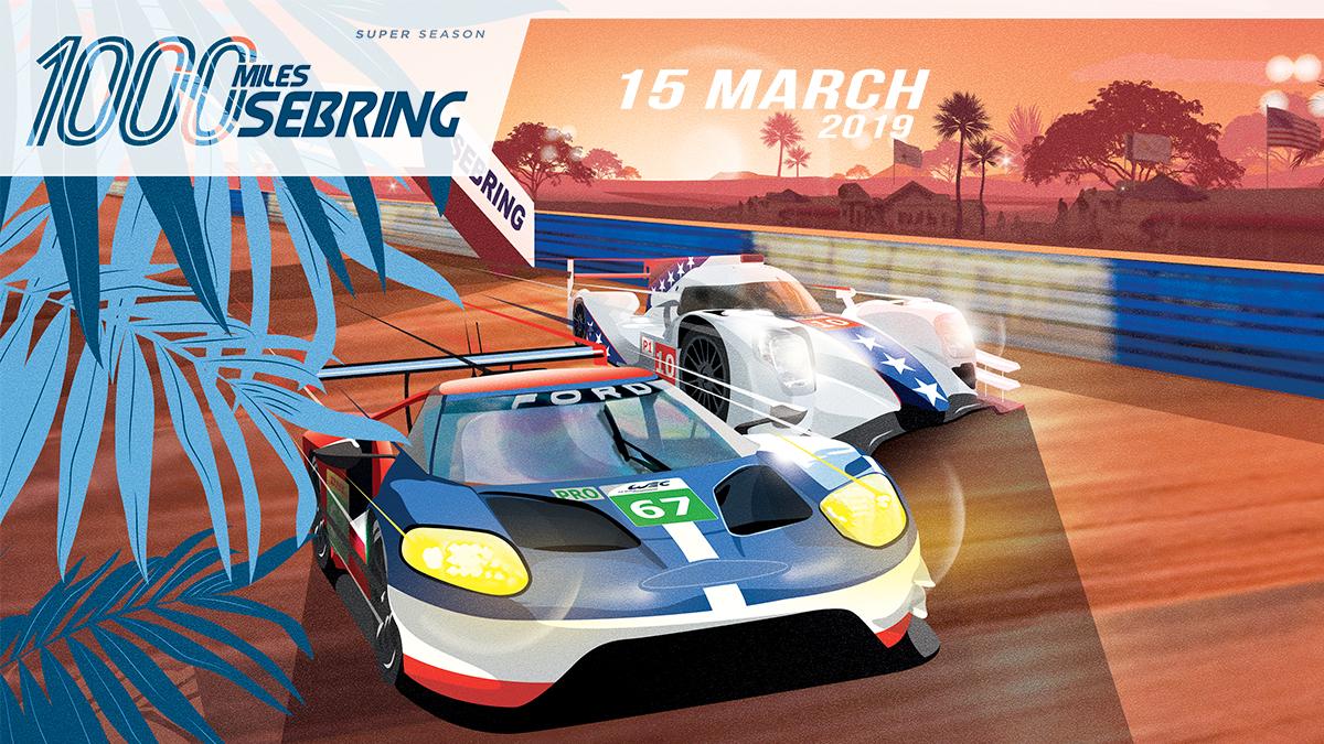 Cartel promocional de las 1000 Millas de Sebring / FIA WEC