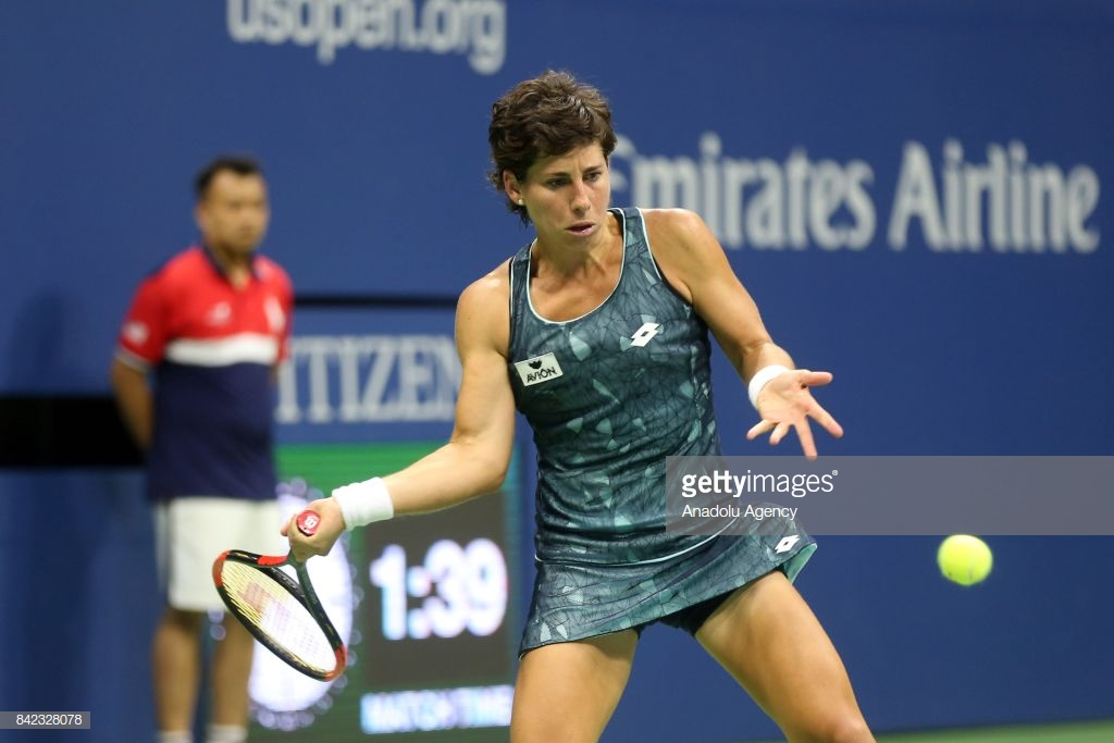 NEW YORK, USA - SEPTEMBER 3: Carla Suárez Navarro of Spain competes against Venus Williams of the United States (not seen) in Women's Singles round four tennis match within the 2017 US Open Tennis Championships at Arthur Ashe Stadium in New York, United States on September 3, 2017. (Photo by Mohammed Elshamy/Anadolu Agency/Getty Images)