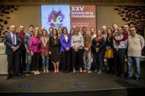 Ana Blanco con los profesores de Comunicación de la Universidad Europea