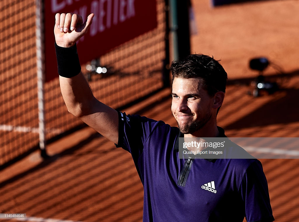 BARCELONA, SPAIN - APRIL 27: Dominic Thiem of Austria celebrates his victory after his Men's semi-finals match against Rafael Nadal of Spain on day six of the Barcelona Open Banc Sabadell at Real Club De Tenis Barcelona on April 27, 2019 in Barcelona, Spain. (Photo by Quality Sport Images/Getty Images)
