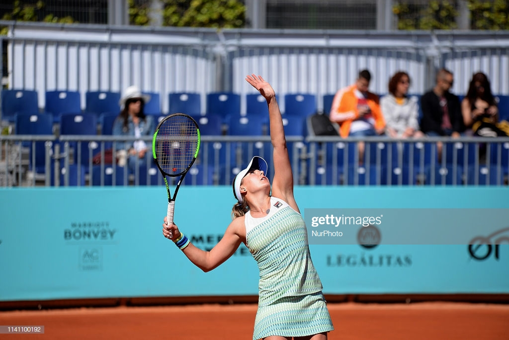 Kateryna Kozlova of Ukrania in action against Aliona Bolsova of Spain during day one of the Mutua Madrid Open at La Caja Magica in Madrid on 4th May, 2019. (Photo by Juan Carlos Lucas/NurPhoto via Getty Images)