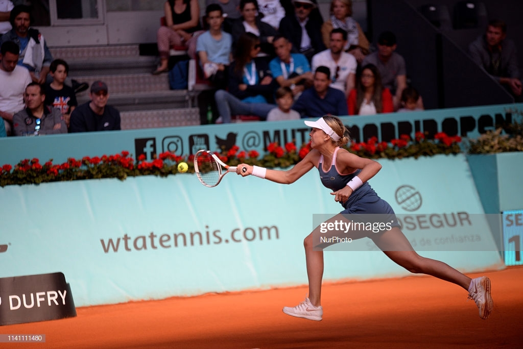 Anett Kontaveit (EST) in action against Aliaksandra Sasnovich (BLR) during day one of the Mutua Madrid Open at La Caja Magica in Madrid on 4th May, 2019. (Photo by Juan Carlos Lucas/NurPhoto via Getty Images)