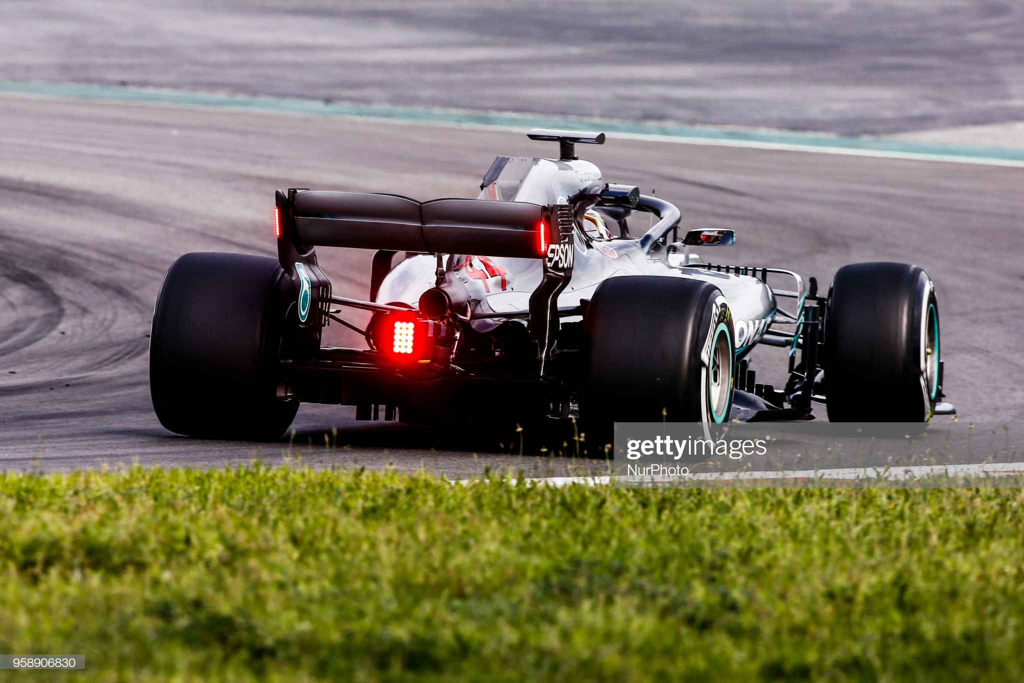 New rear lights for rain condicions for 2019 tested by 44 Lewis Hamilton from Great Britain Mercedes W09 Hybrid EQ Power+ team Mercedes GP during the Spanish Formula One in-season young drivers Tests at Circuit de Barcelona - Catalunya on 15th and 16th of March, 2018 in Montmelo, Spain. (Photo by Xavier Bonilla/NurPhoto via Getty Images)