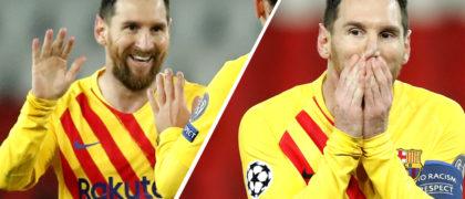 Las dos caras de Leo Messi durante la temporada. Foto / AP