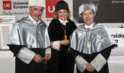 Herrera y Gabilondo con la rectora, Elena Gazapo