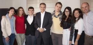 José Luis Rodríguez Zapatero y el equipo de EuropeaTelevisión